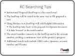 kc searching tips