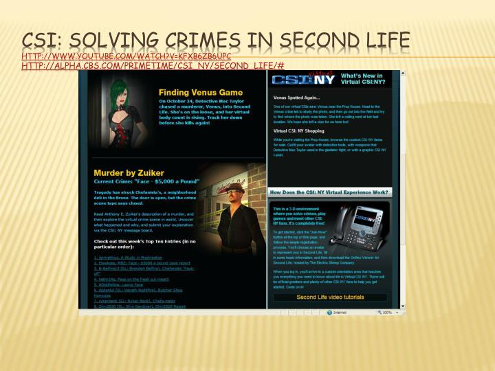 CSI: Solving Crimes in Second Life