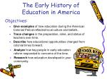 the early history of education in america