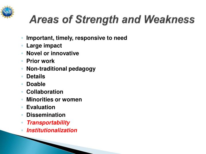 Areas of Strength and Weakness