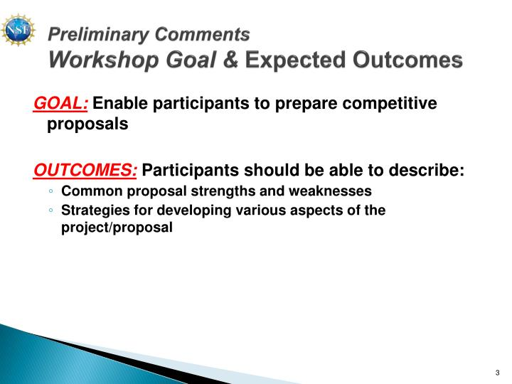 Preliminary comments workshop goal expected outcomes