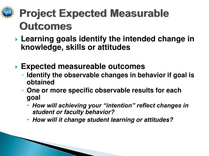 Project Expected Measurable Outcomes