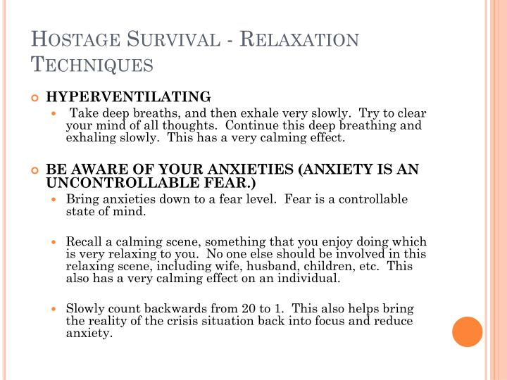 Hostage Survival - Relaxation Techniques
