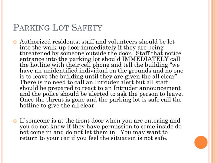 Parking Lot Safety