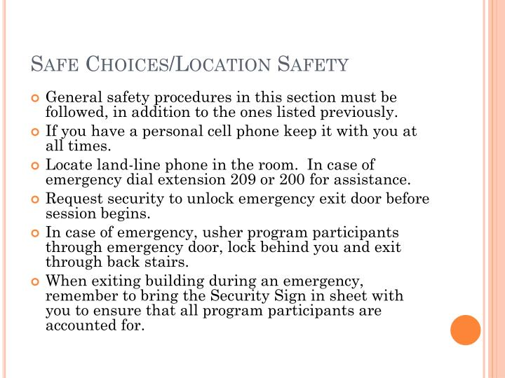 Safe Choices/Location Safety