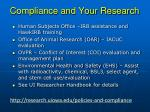 compliance and your research