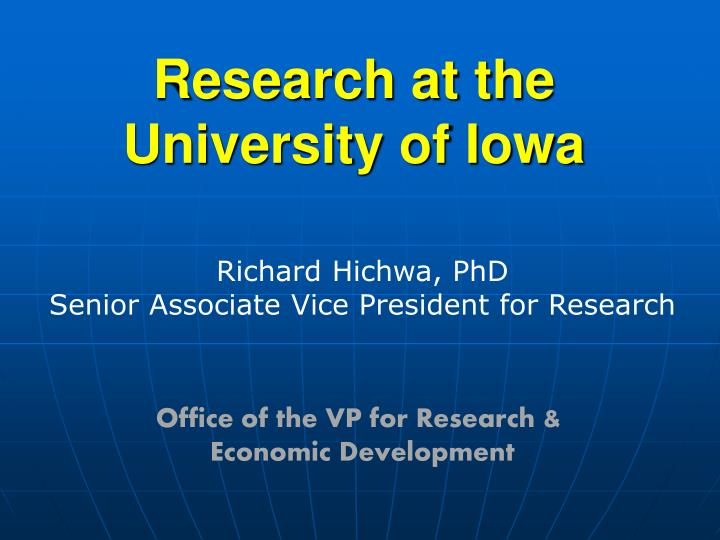 research at the university of iowa n.