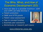 the who what and how of economic development ed