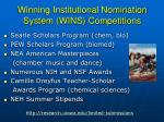 winning institutional nomination system wins competitions