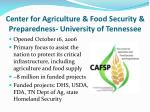 center for agriculture food security preparedness university of tennessee