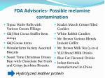 fda advisories possible melamine contamination