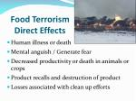 food terrorism direct effects