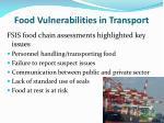 food vulnerabilities in transport