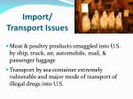 import transport issues