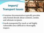 import transport issues1