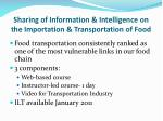 sharing of information intelligence on the importation transportation of food