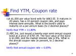 find ytm coupon rate