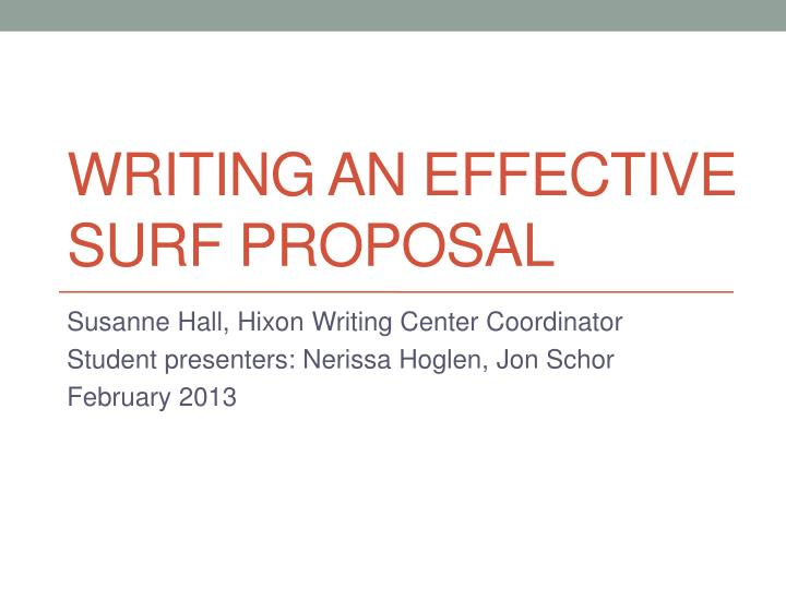 writing an effective surf proposal n.