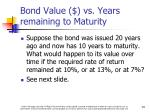 bond value vs years remaining to maturity