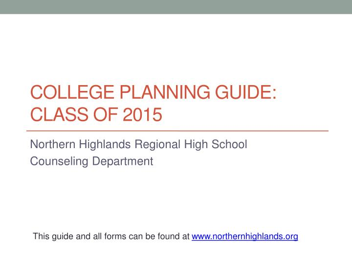 college planning guide class of 2015 n.