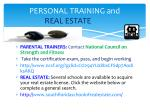 personal training and real estate