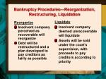 bankruptcy procedures reorganization restructuring liquidation