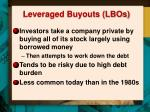 leveraged buyouts lbos