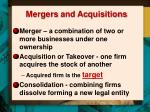 mergers and ac quisitions