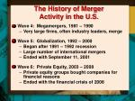 the history of merger activity in the u s2