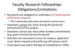 faculty research fellowships obligations limitations