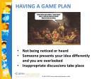 having a game plan