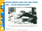 never forget who you are there for your stakeholders