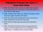 highlights through the years of iowa girls state