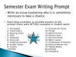 semester exam writing prompt