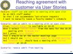 reaching agreement with customer via user stories