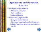 organizational and ownership structure