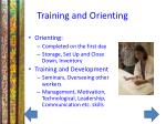 training and orienting