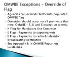 omwbe exceptions override of flag