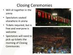 closing ceremonies
