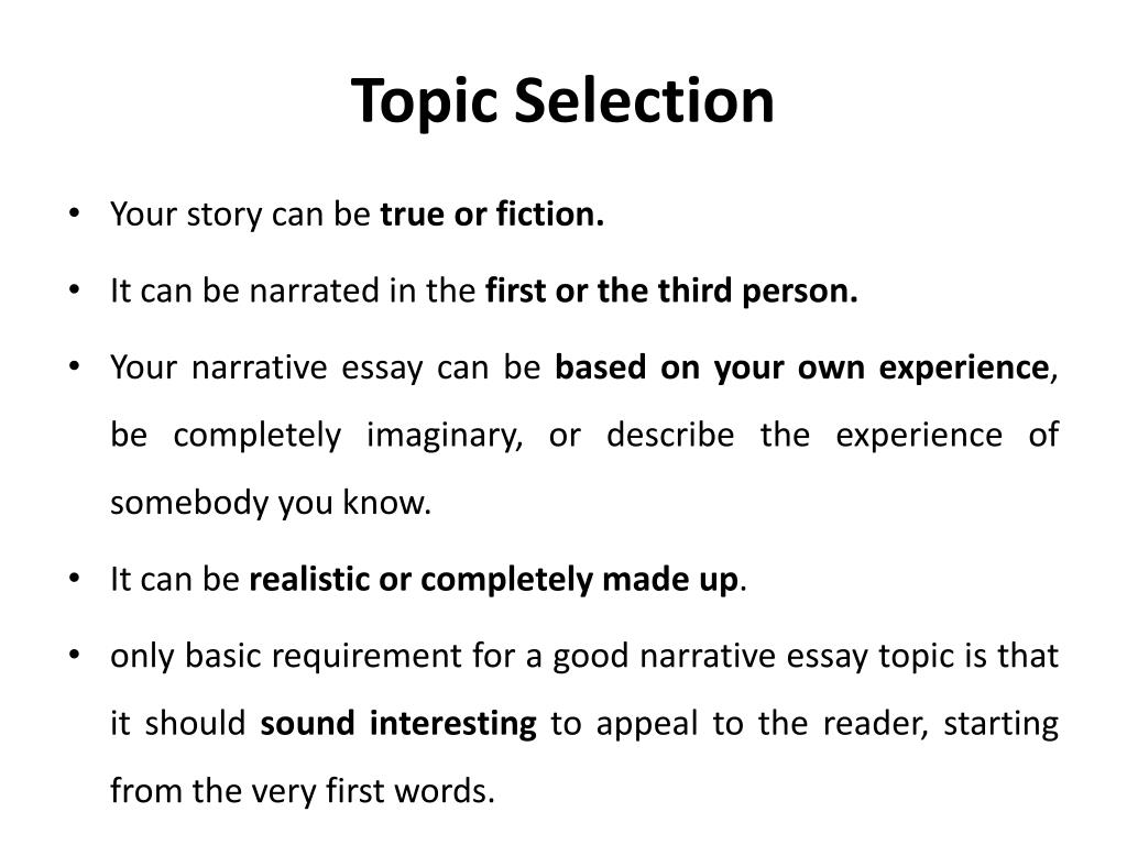 ppt   narrative essay powerpoint presentation   id topic selection