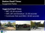 station dwell times suggested rates