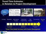 travel time estimates in relation to project development