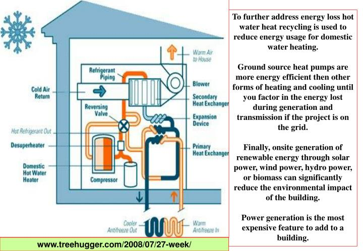 To further address energy loss hot water heat