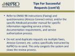 tips for successful requests cont d