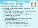 proposal basics budget the most important part