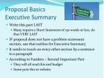 proposal basics executive summary