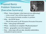 proposal basics problem statement executive summary