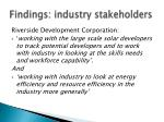 findings industry stakeholders