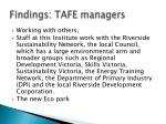findings tafe managers