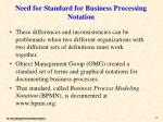 need for standard for business processing notation